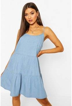 Light blue Tier Denim Cami Dresss