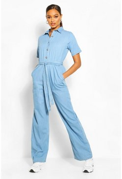 Light blue Tie Waist Light Weight Denim Jumpsuit