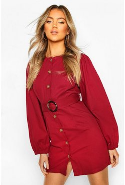 Raspberry Volume Sleeve Belted Denim Dress