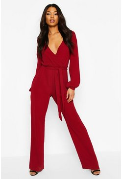 Berry Split Sleeve Wrap Belted Wide Leg Jumpsuit
