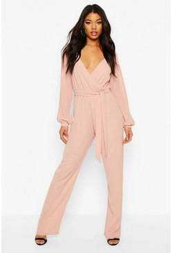 Blush Split Sleeve Wrap Belted Wide Leg Jumpsuit