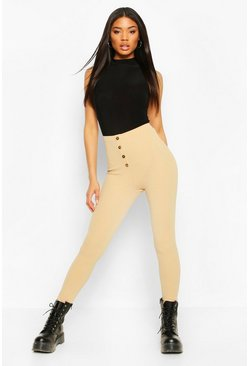 Sand Button Front Legging