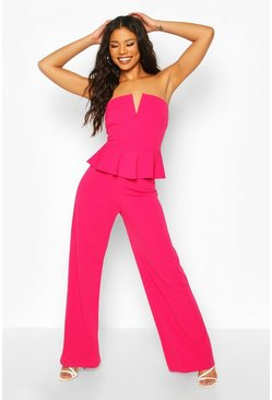 Hot pink V Bar Detail Peplum Waist Jumpsuit