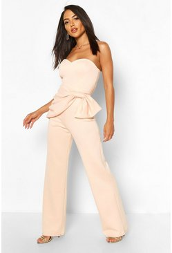 Blush Bow Detail Sweetheart Neckline Bandeau Jumpsuit
