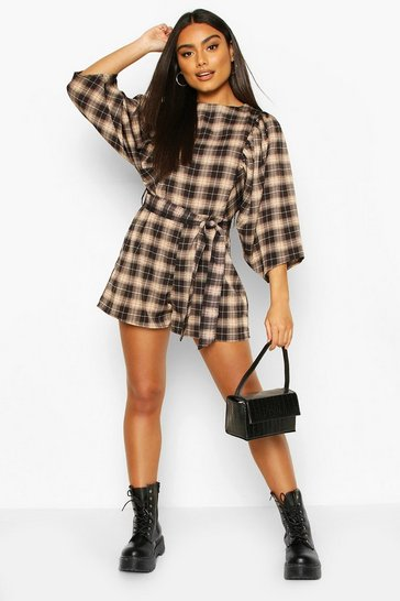 Black Puff Sleeve Check Playsuit