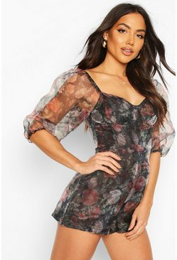 Black Floral Organza Volume Sleeve Playsuit