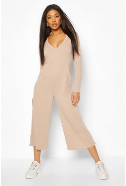 Fawn Knitted Rib V-Neck Plunge Culotte Jumpsuit