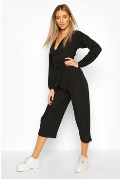 Black Off The Shoulder Ribbed Belted Wrap Jumpsuit