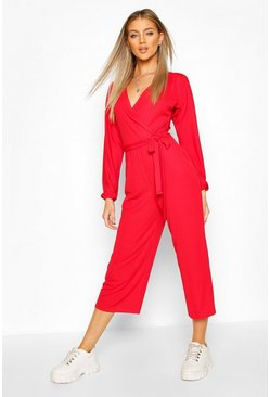 Red Off The Shoulder Ribbed Belted Wrap Jumpsuit