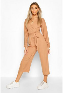 Toffee Off The Shoulder Ribbed Belted Wrap Jumpsuit