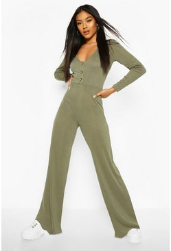 Khaki Ribbed Button Detail Wide Leg Jumpsuit