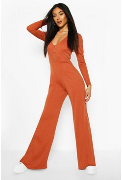 Rust Ribbed Button Detail Wide Leg Jumpsuit