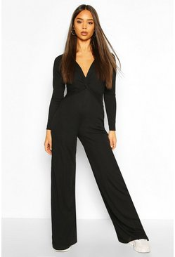 Black Knot Front Soft Rib Wide Leg Jumpsuit