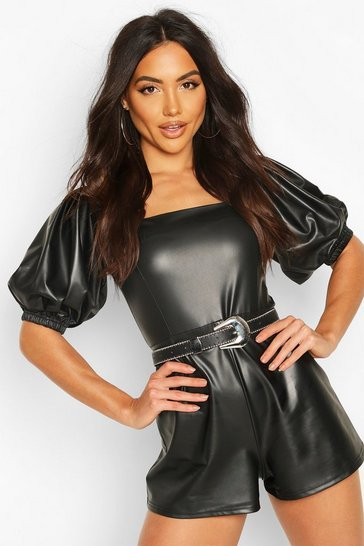 Black Leather Look Puff Sleeve Playsuit