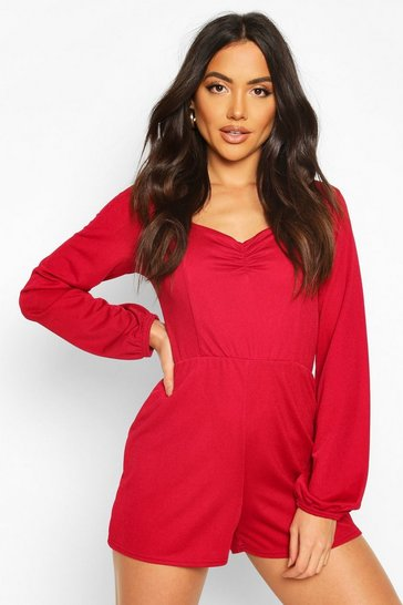 Berry Ruched Front Blouson Sleeve Playsuit