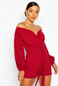 Berry Off The Shoulder Wrap Playsuit