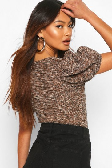 Tan Square Neck Puff Sleeve Jacquard Top
