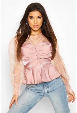 Blush Organza Sleeve Ruched Peplum Woven Blouse