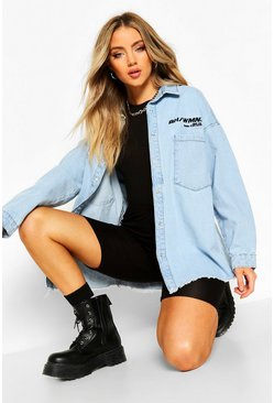 Light blue Slogan Denim Shacket