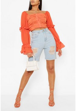 Orange Woven Ruffle Blouson Sleeve Blouse