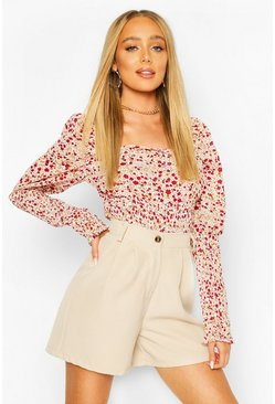 Red Woven Floral Shirred Puff Sleeve Top