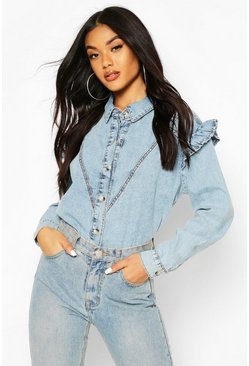 Light blue Acid Wash Frill Shoulder Denim Shirt
