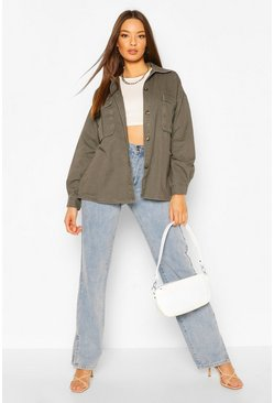 Khaki Oversized Utility Pocket Denim Jacket