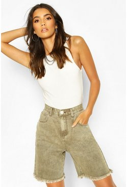 High-Rise Radlerhose aus Denim, Khaki