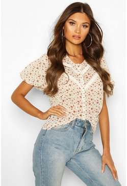 Ivory Floral Lace Trim Blouse