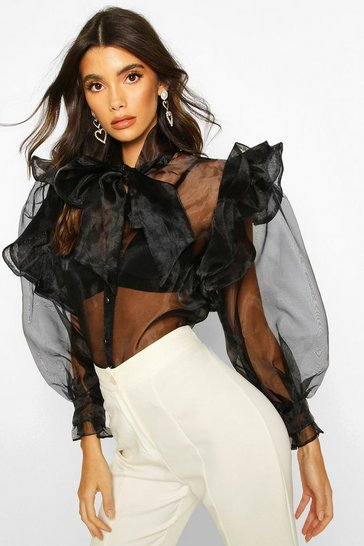Black Organza Ruffle Detail Pussybow Blouse