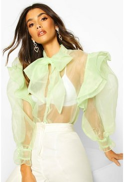 Organza Ruffle Detail Pussybow Blouse