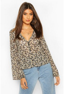 Black Metallic Paisley Button Through Blouse