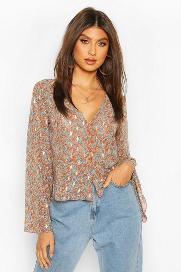 Terracotta Metallic Paisley Button Through Blouse