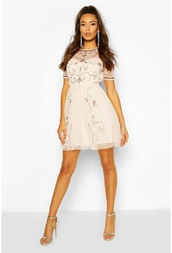 Nude Boutique Embellished Skater Dress