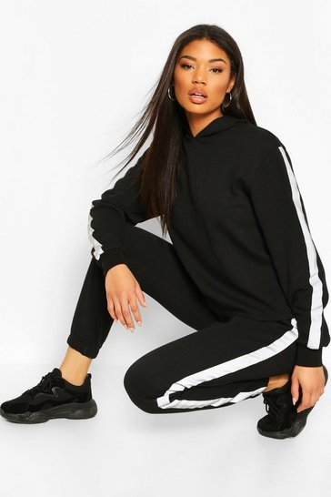 Black Reflective Side Stripe Oversized Hoodie