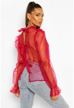 Wine Organza Puff Sleeve Pussy Bow Blouse
