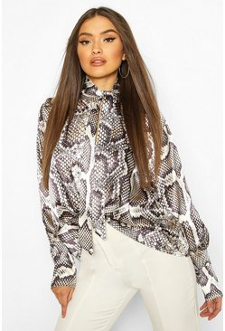 Grey Woven Snake Pussy Bow Blouse