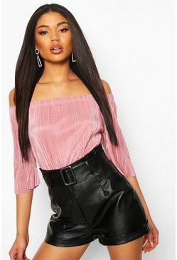 Rose Plisse Off The Shoulder Top