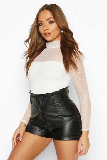 Ivory Dobby Mesh High Neck Bodysuit