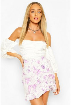 Lilac Ruffle Front Floral Mini Skirt