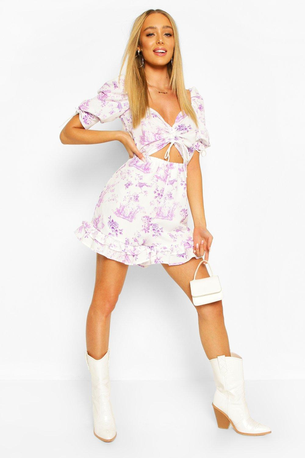 womens ruched front sweetheart floral romper - purple - 8