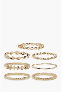 Gold Textured Metal Ring Pack
