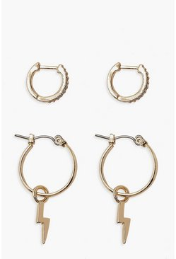 Gold Lightning Bolt & Diamante Hoop 2 Pk Earrings