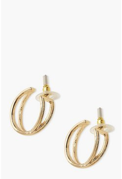 Gold Cross Over Hoop Earrings