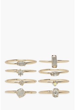 Diamante Stone Stacking 8 Pack Rings, Gold