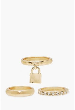 Padlock & Diamante 3 Pack Rings, Gold