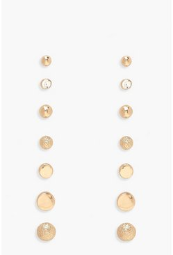 Gold Simple Multi Stud Earring 7 Pack