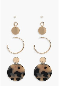 Gold Mixed Stud & Earring 4 Pack