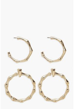 Gold Bamboo Hoop Earring 2 Pack