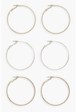 Multi Mixed Metal Hoop 3 Pack